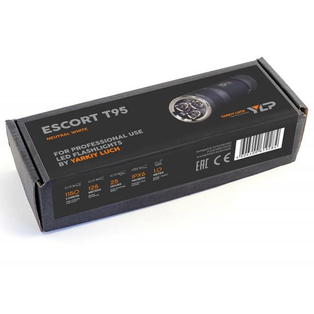 """Фонарь ЯРКИЙ ЛУЧ YLP T95 """"ESCORT"""" трипл CREE XP-G2 1150лм, 3 режима, IPX6, под аккум. 18650"""